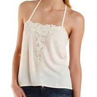 Teal Strappy Crochet Applique Tank Top by Charlotte Russe