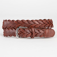 Braided Faux Leather Belt Brown  In Sizes
