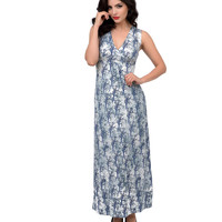 1970s Style Blue & White Dead Forest Grecian Maxi Dress