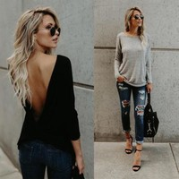 Women Fashion V Open Back Backless Blouse Tops Long Sleeve Solid Black Gray Loose Casual Shirt