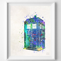 Tardis, Print, Wall Art, Watercolor, Dr Who, Doctor Who, Painting, Poster, Illustration Gift, Watercolour, Home Decor, Tv Show, Living Room