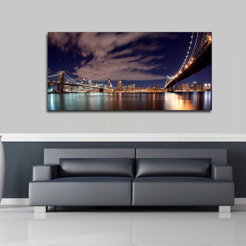 """Canvas Print Artwork Stretched Gallery Wrapped Wall Art Painting Brooklyn Bridge New York City Town Night Large Size 20x43"""" (can12)"""