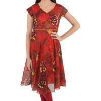 Mutlicolored Asymmetrical Kurti with Floral Prints