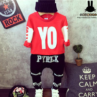 New 2015 Baby Boys Clothing Sets Fashion Boy Hip hop Suit Kids Sport Clothes Set Letter Printed Children Suit Toddler clothing