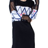 Black Cut-out Long Sleeve Graphic Print Dress