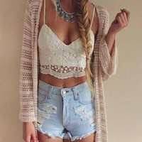 Crop Top Summer Slim Sexy Floral Spaghetti Strap Lace Tops = 5895570881