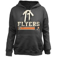 Youth Philadelphia Flyers Old Time Hockey Black Carey Skate Lace Up Pullover Hoodie