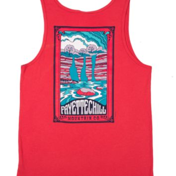 Fayettechill Trippy Falls Tank Top- Sumac Red