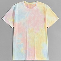 Fashion Casual Men Tie Dye Round Neck Tee