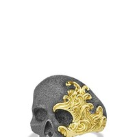David Yurman 'Waves' Skull Ring with Gold