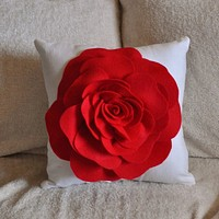 Red Rose on White Pillow 14x14