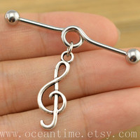 music note industrial barbell piercing,music note industrial barbell earring jewelry, music note ear jewelry,friendship jewelry,oceantime