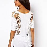 T-Shirt with V Neck and Cut Out Detail