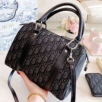 D Dior New fashion more letter canvas pillow shape shoulder bag handbag crossbody bag wallet two piece suit bag women