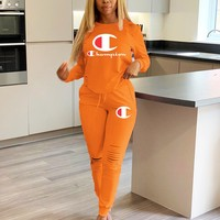 Champion Autumn Popular Women Casual Print Top Pants Trousers Set Two-Piece Sportswear Orange