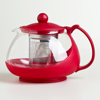Red Glass Infuser Teapot - World Market