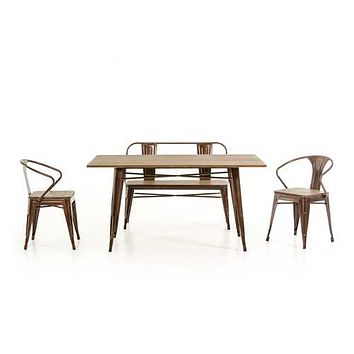 """30"""" Steel and Wood Dining Table"""