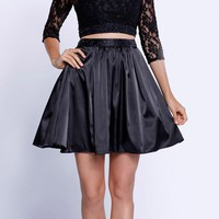 Quarter Sleeves Lace Top Short Two-Piece Prom Dress Black