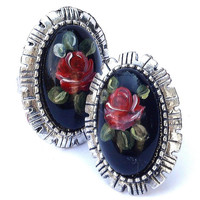 Painted Rose Black Victorian Ring Boho Romantic Jewelry FREE SHIPPING