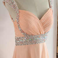 Peach Floor-length Beading Prom Dress with Straps by AlexDress