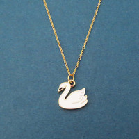 White, Swan, Gold, Chain, Necklace, Birthday, Best friends, Sister, Gift, Jewelry