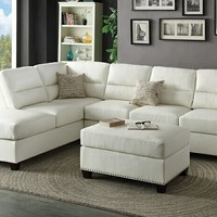 3 pc Collette collection white bonded leather upholstered sectional sofa with nail head trim accents