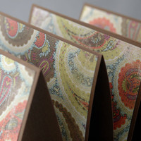 Handmade note Cards brown coral and blue paisley by ecoPaperie