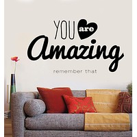 Vinyl Decal Wall Sticker Inspirational Motivational Quotes Words Amazing (n862)
