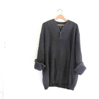 vintage slouchy sweater. oversized charcoal gray sweater. henley pullover shirt. size 3 XL