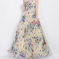 Butterfly Print V-Neck Chiffon Maxi Dress