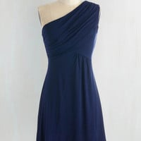Mid-length One Shoulder A-line Midnight Sun Dress in Navy by ModCloth