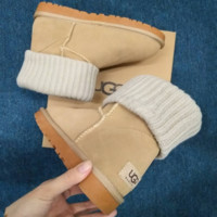 UGG Fashion Plush leather boots boots in tube Boots Brown G