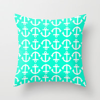 Anchor Pattern Emerald Throw Pillow by LookHUMAN