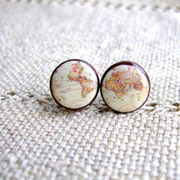 Whole Wide World- Vintage World Map Stud Earrings- Antique World Map- Nickel free stud earrings- Retro Space- Globetrotter- Free shipping