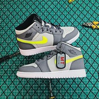 Air Jordan 1 Mid Grey Volt Sneakers