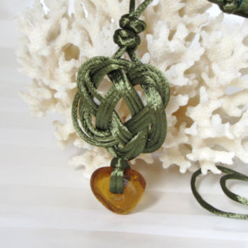 Celtic Necklace Olive Green Square Knot Pendant with Amber Glass Bead and Paper Beads