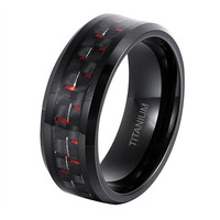 8MM Mens Titanium Ring Wedding Band Black Plated with Black and Red Carbon Fiber Inlay