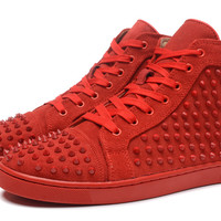 Indie Designs All Red Suede Spike Sneakers