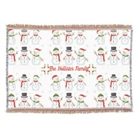 Christmas Happy Snowmen, Holiday, Personalized, Throw Blanket