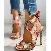 Summer 2020 new style sandals and high-heeled shoes pink floral