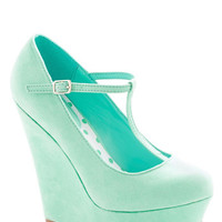 ModCloth Pastel Take It from the Taupe Wedge in Spearmint