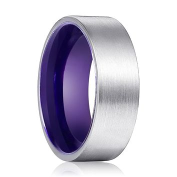 ANEMONE Tungsten Silver Flat and Purple Inside Aluminum Ring