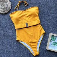 Ribbed Belted One Piece