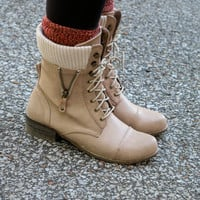 From Great Heights Nude Lace Up Combat Boot With Sweater Detail