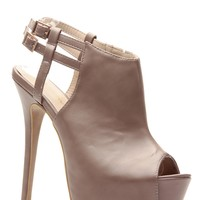 Taupe Faux Leather Peep Toe Platform Booties @ Cicihot Heel Shoes online store sales:Stiletto Heel Shoes,High Heel Pumps,Womens High Heel Shoes,Prom Shoes,Summer Shoes,Spring Shoes,Spool Heel,Womens Dress Shoes