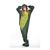 Unisex Adult Pajamas  Cosplay Costume Animal Onesuit Sleepwear Suit  Green dinosaur