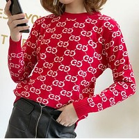 Gucci Autumn Winter Popular Women Casual Double G Letter Long Sleeve Sweater Top Red