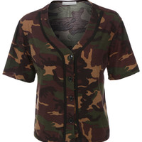 LE3NO Womens Cropped Camo Baseball Button Down T Shirt (CLEARANCE)
