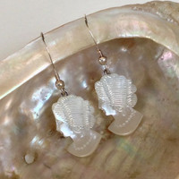 Antique Shell Cameo Earrings, Hand Carved Mother of Pearl Wedding Dangle Earrings, Gift for Wife Earrings
