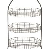 Benzara Attractive Styled Metal Basket 3 Tier Tray